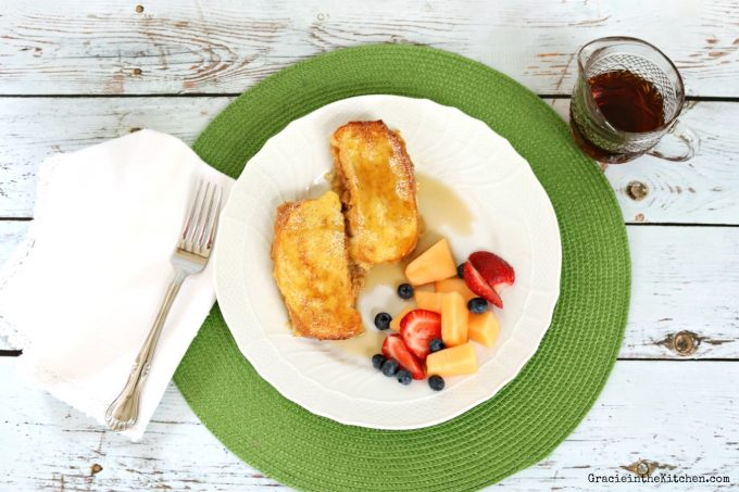 Apple French Toast plate with fruit