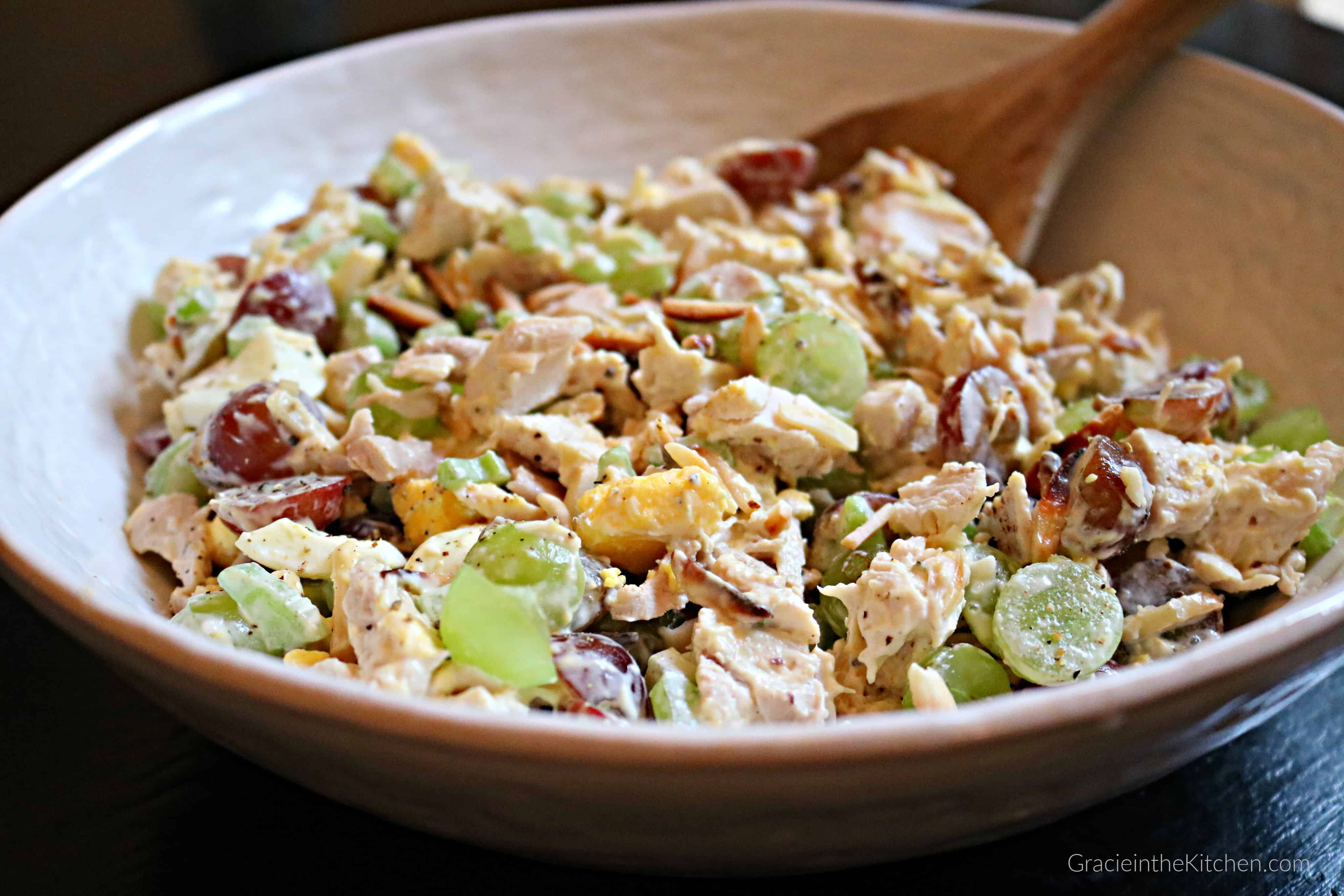 The BEST Almond Chicken Salad Recipe- So easy and delicious with chicken, almonds, sweet grapes, and more!