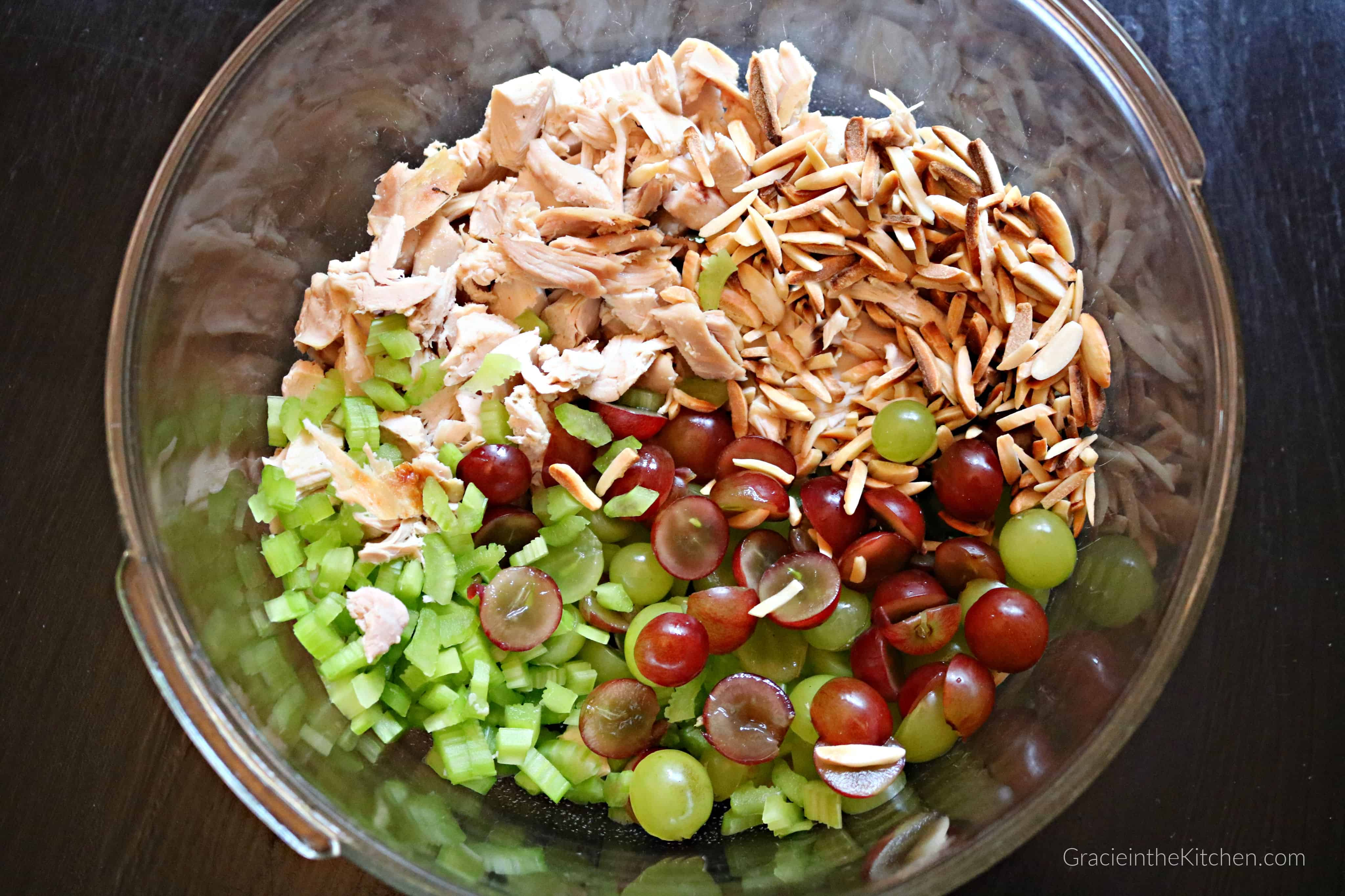 Easy Almond Chicken Salad- This recipe is the best! So flavorful!