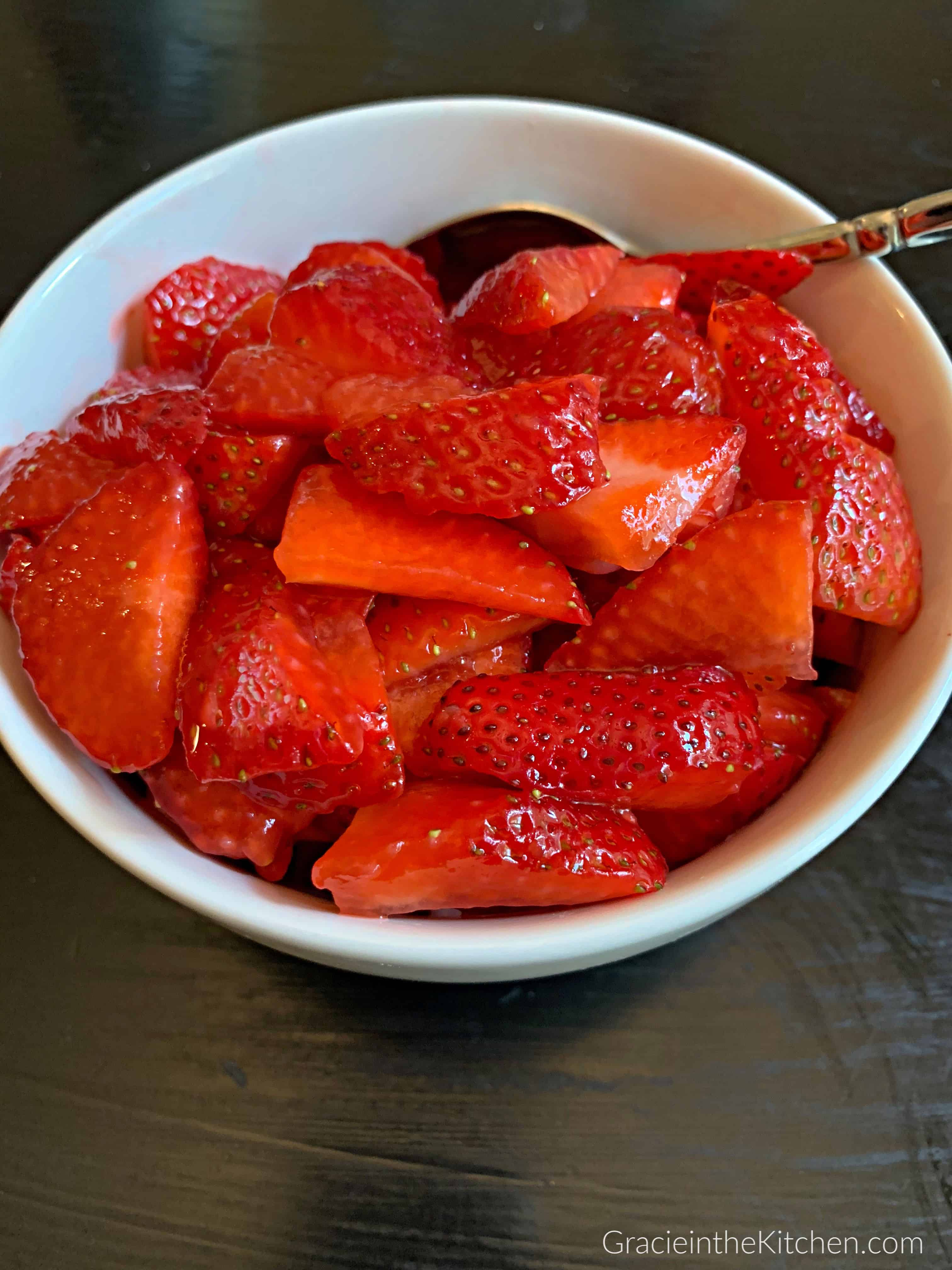Macerated Strawberries- Such a quick and easy strawberry topping!