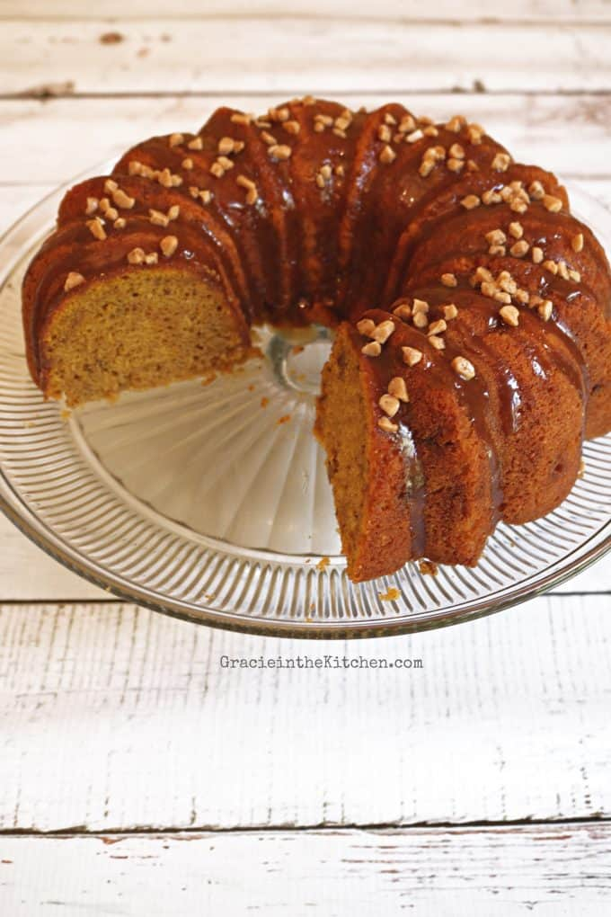 Pumpkin Spice Bundt Cake with Caramel Sauce- Cake Mix Recipe!