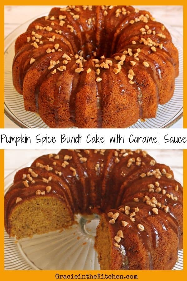 The BEST Pumpkin Spice Bundt Cake recipe with Homemade Caramel Sauce! This recipe starts with a cake mix and is so good!